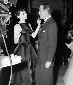 """""""I was terrified of Bogart, and he knew it."""" - Audrey Hepburn (seen here with Humphrey Bogart on the set of """"Sabrina"""")"""