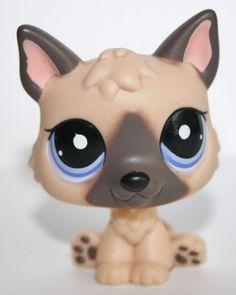 Littlest Pet Shop #1800 German Shepherd Dog Tan Brown Puppy with Purple Eyes LPS #Hasbro
