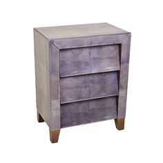 Voisen Decorative Grey Glass Three Drawer Side Table