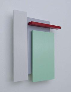 Original Minimalist Abstract Wood Wall Sculpture - In Red, Light Green, White & Gray