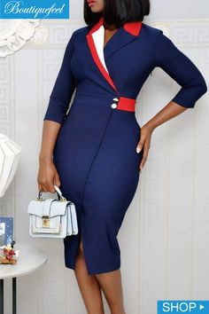 Contrast Color Wrap Slit Pencil Dress dresses and accessories all over the world at competitive prices, and with a high level of customer care. Classy Work Outfits, Classy Dress, Chic Outfits, Dress Outfits, Fashion Outfits, Dress Fashion, African Fashion Designers, Latest African Fashion Dresses, African Print Fashion