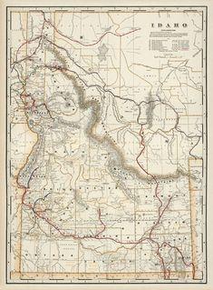 Map of Idaho from 1901. Pigment Ink, Idaho, Vintage World Maps, Canvas Prints, Fine Art, Paper, Etsy, Photo Canvas Prints, Visual Arts