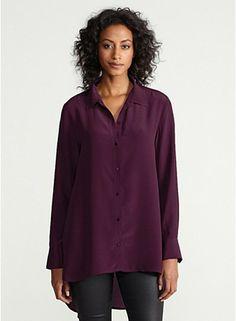 Classic Collar Long Shirt in Silk Crepe de Chine