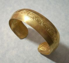 Unfinished Raw Brass Scroll Design Cuff Bracelet by charmsgalore