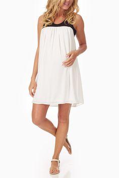 White-Crochet-Mesh-Top-Maternity-Dress #maternity #fashion