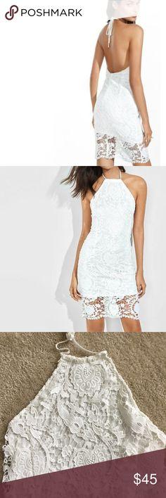 White lace dress EUC express white lace halter dress size 4 Express Dresses Backless