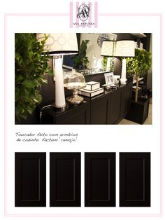 Dark sideboard with black glass top