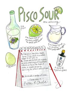 Pisco Sour Illustrated Classic Chile & Peru Cocktail Recipe Watercolor Art Print by MarcellaStudio on Etsy Sour Foods, Cooking Quotes, Peruvian Recipes, Peruvian Drinks, Cocktails, Pen And Watercolor, Watercolor Artwork, Cooking With Kids, Easy Cooking