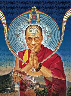 Dalai Lama, Man of Peace! Graphic novel about the life of the Dalai Lama. His Holiness received the first copy from coauthor Robert Thurman. Cover art by Alex Grey Alex Grey, Alex Gray Art, Dalai Lama, Namaste, Man Of Peace, Tibetan Art, Tibetan Buddhism, Buddhist Art, Visionary Art