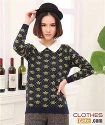 2014 new spring European and American sweet grown doll collar and new pattern of small dots systemic star long-sleeve sweater