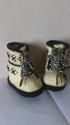Topánočky - Háčkované čižmičky - šnurovacie hnedé - 2902522