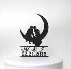 Custom Wedding Cake Topper  Kissing on the Moon by Plasticsmith