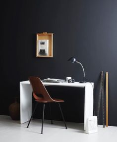 Mid-Century Desk Design in Stylish and Attractive Models : Modern Minimalist Home Office Decor Ideas Use Black Wall And White Floor Applied . Home Office, Office Nook, Office Set, Office Decor, Workspace Inspiration, Home Decor Inspiration, Design Inspiration, Simple Furniture, Furniture Design
