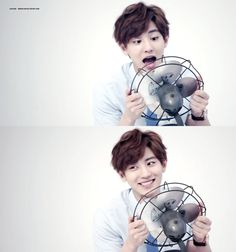lol channie looks like hes having too much fun with that fan. hes like hehe whaaaa right in the fan