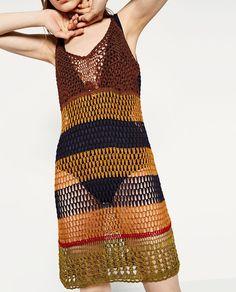 Crochet Skirts, Crochet Lace Dress, Crochet Tunic, Crochet Clothes, Crochet Bikini, Knit Crochet, Zara, Ideias Fashion, Knitwear