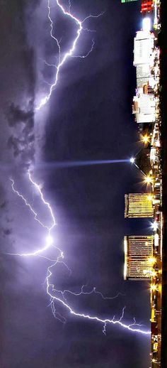 Lightning Strikes over the Mandalay Bay Resorts and Casino in Las Vegas, Nevada