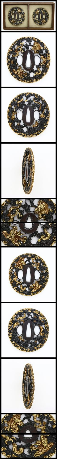 Shakudo Tsuba, clouds, waves and dragon are engraved with gold color.