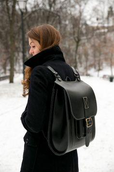 "Black Leather backpack 15.6"", Big handmade satchel"