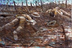 The corpses of two dead British soldiers lying face down in the mud among barbed wire. Their helmets and rifles lie in the mud next to them.