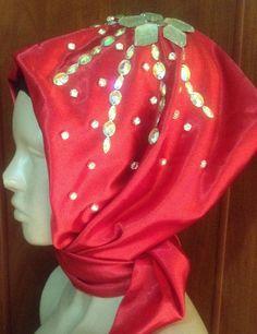 Strass Turban /Festlıche Satın Kopftuch /Hijab /Cap /Tessetür Abaya Niqab ROT