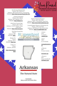 Before you head out to explore 'The Natural State' with your kids, grab a copy of this Arkansas Field Trip Guide to help you make plans! #Arkansas #FieldTrip #ArkansasFieldTrips #Homeschool #Homeschooling #YearRoundHomeschooling #Printable #Geography