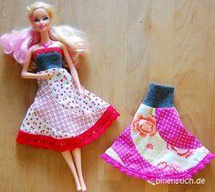 Kleid für Barbie nähen, mit Wäschspitze, Bommelband und Spitze | binenstich.de