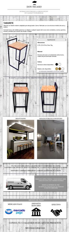 Industrial Furniture Ideas For Someone Looking To Improve Their Home For some people, interior design is something that comes quite naturally. Welded Furniture, Industrial Design Furniture, Steel Furniture, Pallet Furniture, Furniture Design, Chaise Bar, Wood Steel, Barbacoa, Diy Room Decor