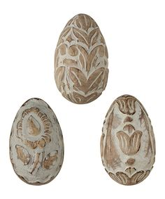 Loving this Tall Carved Egg Set on #zulily! #zulilyfinds
