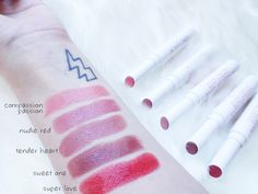 Pacifica lipstick swatches: Power of Love. Vegan lipstick
