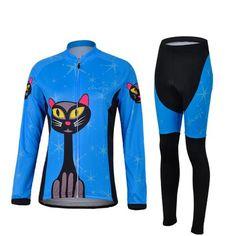 Women's Blue Cat Long Sleeve Cycling Jersey Set #Cycling #CyclingGear…