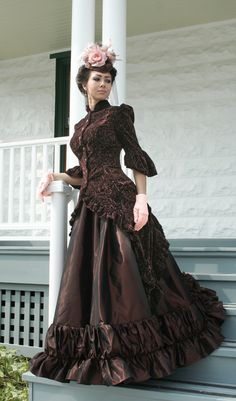 Ava Polonaise Ensemble  in textured tapestry velvet and taffeta.