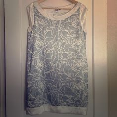 Matix Abstract Floral Shift Super cute sleeveless shift with pockets! Fully lined. Navy blue on white. NWOT. Matix Dresses