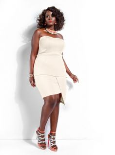 #Monif C. #Plus #Sizes - Monif C  #chocolate #girls her skin is EVERYTHING!!right and the #ivory dress