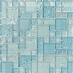 Glass Pool Mosaic Tile Sea Foam Blend for swimming pool, shower walls, backsplash, Jacuzzi, and spa. Made with translucent glass for a better reflection under water. Samples available. Glass Pool Tile, Glass Mosaic Tiles, Pool Tiles, Stone Mosaic, Bathroom Sets, Small Bathroom, White Bathroom, Bathroom Wall, Bathrooms