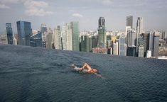 Infinity Pool on 55-Storey Marina Bay Sand Hotel in Singapore