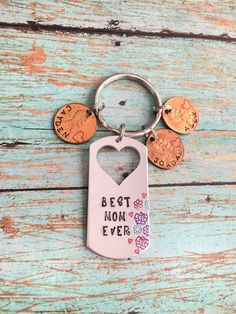 Mothers Day Gift Mom Penny Keychain Mom Flower by Jordanlynnsgems