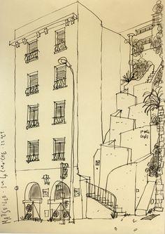 Philippe Doro : Marseille, impasse graff. Dessin au crayon.