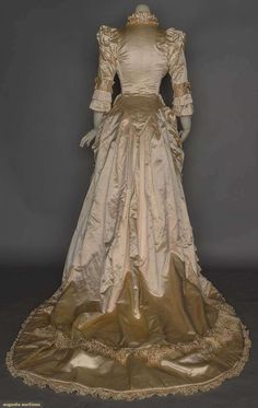 Wedding Dress (image 3) | 1880s | satin, silk brocade | Augusta Auctions | November 11, 2005/Lot 16