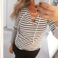 4th of July Sale! White Striped Lace Up Top, Brand new with tags. Material: cotton. I have all sizes. Ships out in 4 days. The 1st picture is mine. Tops