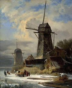 Andreas Schelfhout - Winter Landscape with Mill Windmill Art, Old Windmills, Winter Landscape, Landscape Art, Landscape Paintings, Winter Painting, Winter Art, Great Paintings, Old Paintings