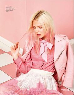 Katty Trost wears shades of pink including her pastel tinged hair for Cosmopolitan Spain Magazine September 2016 issue