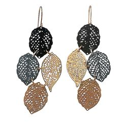 black and gold 24 karat plating lace leaf earrings by inbarshahak, $79.00