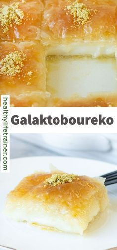 Custard Pie with Syrup or Galaktoboureko is a traditional Greek dessert made with crispy golden brown filo sheets filled with creamy custard, sprinkled with melted butter and topped with flavoured syrup. This mouth-watering dessert can be served as an evening snack or after a filling meal. #Galaktoboureko #Custardpie #greekdesserts #easydessert Greek Desserts, Easy Desserts, Evening Snacks, Melted Butter, Custard, Syrup, Sprinkles, Late Night Snacks, Cream