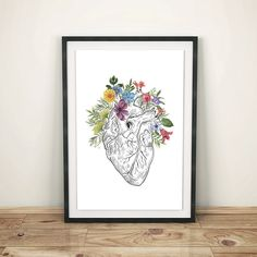 Flowery Heart Wall Art, Human Anatomy Print, Printable art, Wall Decor, Room Decor