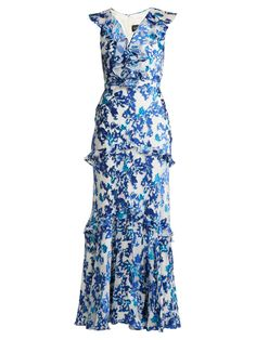 """GABRIELLE'S AMAZING FANTASY CLOSET   Saloni Lodha's Tonal Blue and White """"Rita"""" Gown is cut from a Lightweight Silk/Viscose Satin textured with a Blue Floral-Devoré Pattern. (Alternate Front Image) You can see all of the Images of this Outfit and my Remarks on this board. - Gabrielle"""