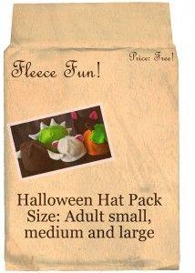 Halloween Hat Pack   free fleece animal hat patterns by  www.fleecefun.com