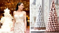 Clockwise from left, a cake by Sylvia Weinstock; macaron towers by Ladurée; tiers with bows by Anna Cakes; the Piko cake by Sugar Couture. Credit Chris Jorda Photography; Jason Noda Ladurée Bridal Collection; Victoria Angela Photography; Matt Miller