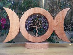Triple Moon made from Oak with Tree of Life with Amethyst Crystals, Altar Triple Moon,Amethyst Tree of Life, Goddess Triple Moon, Spiritual