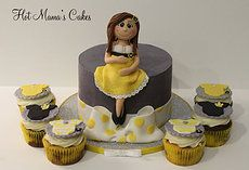 Hot Mamas Cakes   Baby Shower Yellow and grey baby shower cake and cupcakes
