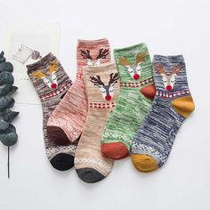 Christmas Deer Socks - 5 Pairs, Cool Novelty Socks for Women #sockpainter #Christmasgift